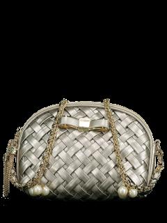 Bowknot Tassel Woven Crossbody Bag - Silver Gray