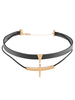 Artificial Leather Bar Layered Choker Necklace - Black
