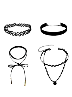 Faux Leather Velvet Tattoo Choker Necklaces - Black