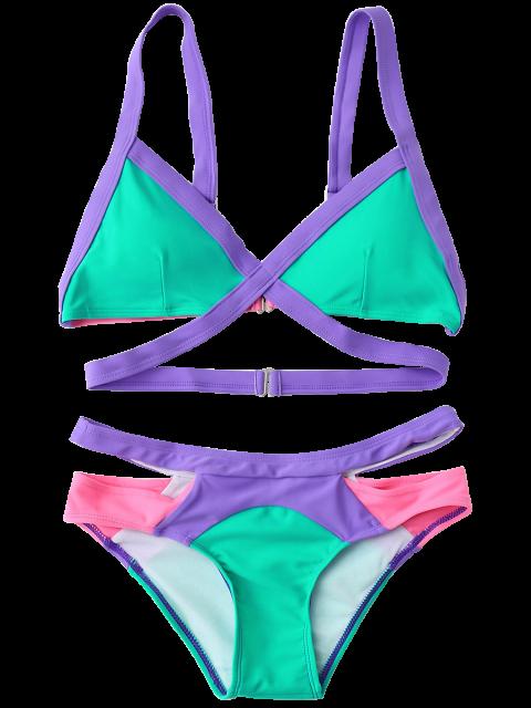unique Strappy Color Block Banded Bikini Set - BLUE GREEN L Mobile