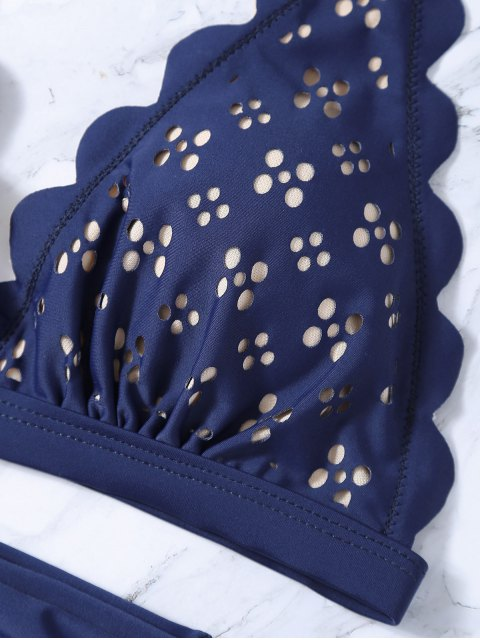 latest Laser Cut High Waisted Bikini - PURPLISH BLUE M Mobile