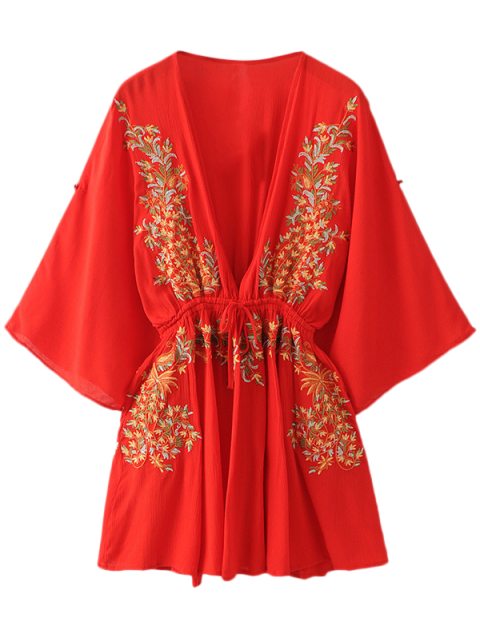 trendy Bohemian Plunging Neck Embroidered Dress - RED S Mobile