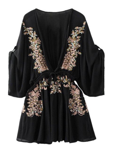 latest Bohemian Plunging Neck Embroidered Dress - BLACK L Mobile