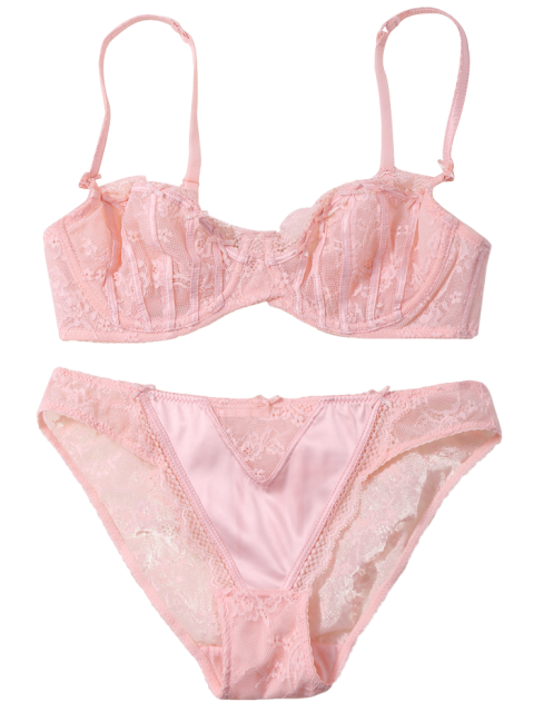new Sheer Lace Bra and Panty Lingeries Set - PINKBEIGE 75D Mobile