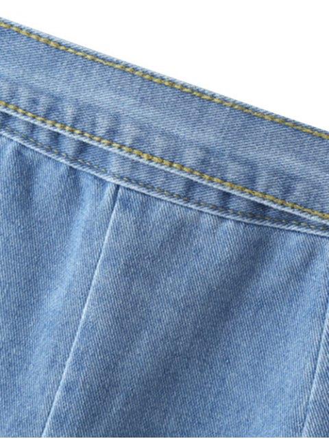 latest Bownot Front Slit Denim Skirt - LIGHT BLUE L Mobile