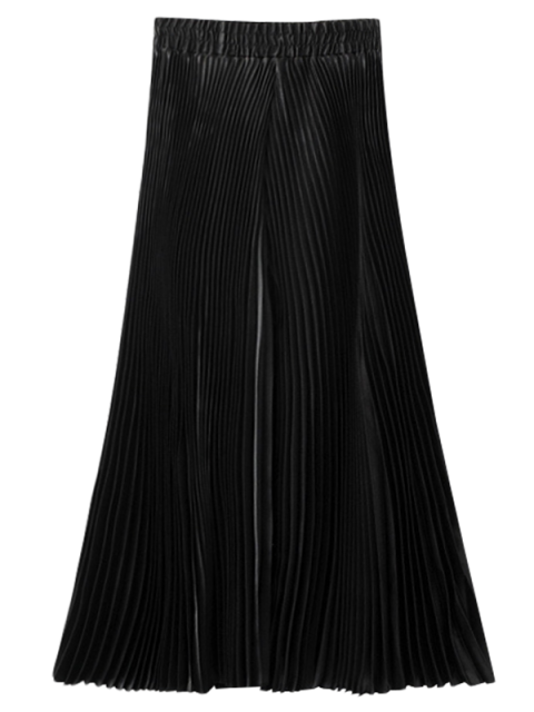 ladies Pleated Capri Wide Leg Pants - BLACK ONE SIZE Mobile