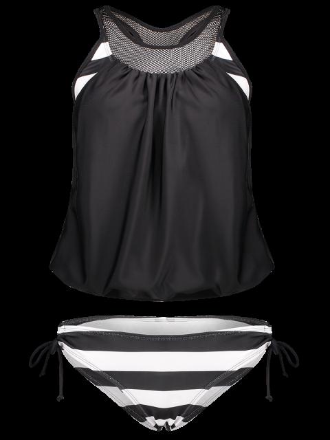 lady Striped Mesh Panel Tankini Set - BLACK L Mobile