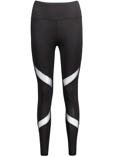 new Mesh Panel Skinny Sports Leggings - BLACK L Mobile
