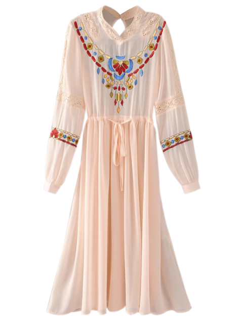 outfit Belted Embroidered Long Sleeve Dress - PINK M Mobile