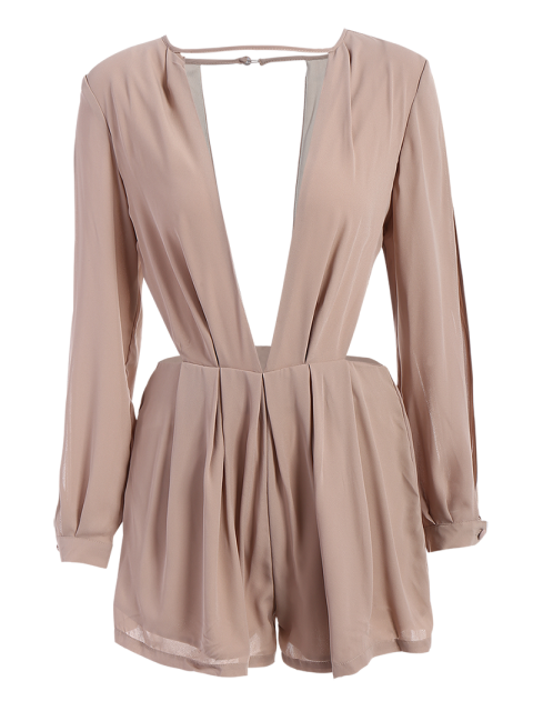 lady Split Sleeve Plunging Neck Cut Out Romper - PINKBEIGE L Mobile