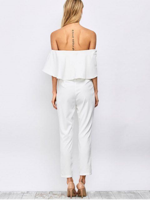 sale Ruffles Off Shoulder Jumpsuit - WHITE 2XL Mobile
