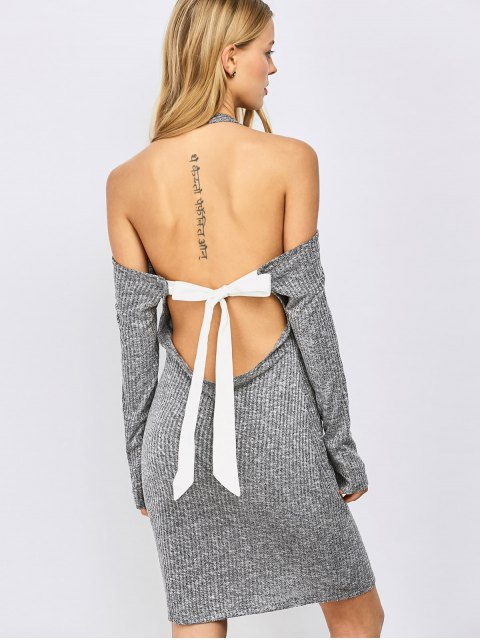 best Knitting Bowknot Bodycon Dress - GRAY L Mobile