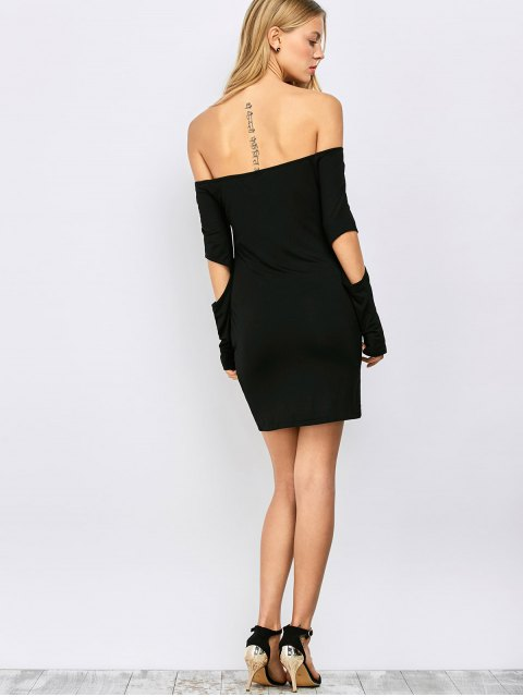 shop Bodycon Off The Shoulder Long Sleeve Party Dress - BLACK M Mobile
