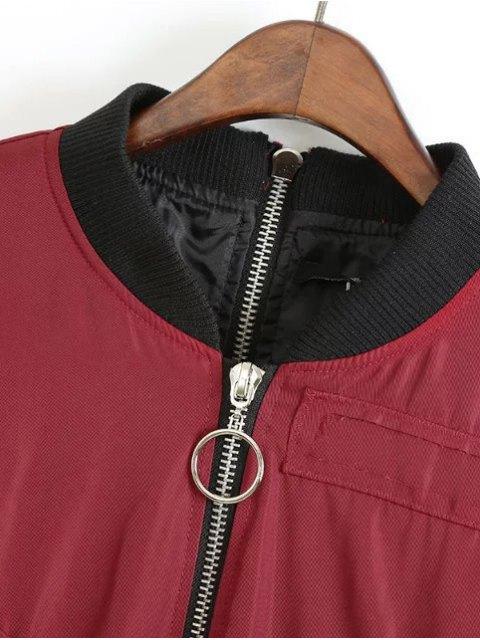 trendy Double Zipper Bomber Jacket - CLARET M Mobile