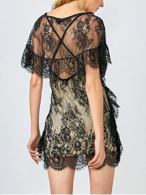 buy Flounced See-Through Lace Dress - BLACK M Mobile