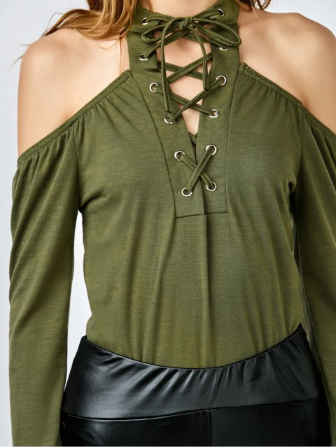 sale Long Sleeve Lace-Up Cold Shoulder Bodysuit - GREEN XL Mobile