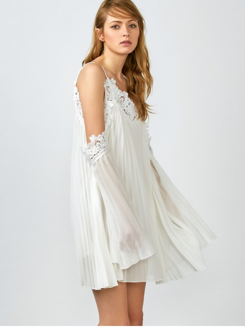 latest Lacework Pleated Cami Dress - WHITE S Mobile