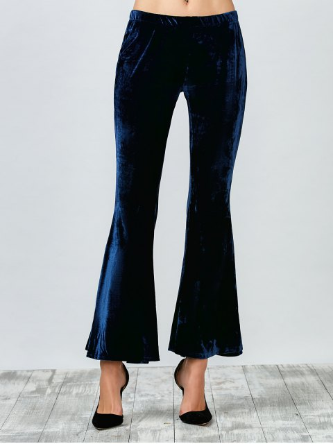 lady Flared Velvet Pants - PURPLISH BLUE XL Mobile