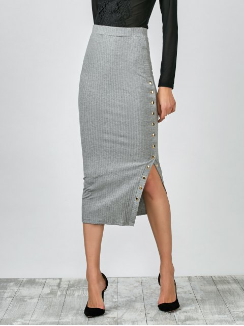 ladies Knitted Side Button Skirt - GRAY L Mobile