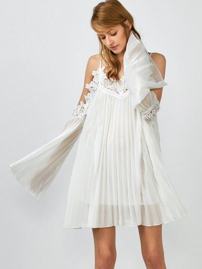Lacework Vestido Plisado Cami - Blanco