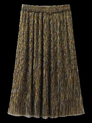 Golden Thread A-Line Midi Skirt - Golden