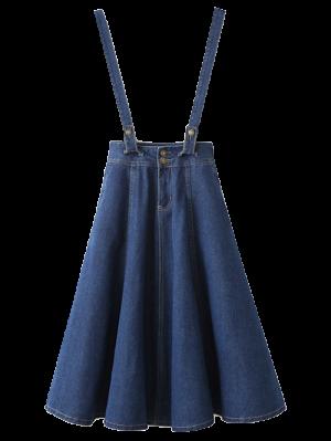 Suspender Denim Skirt - Deep Blue