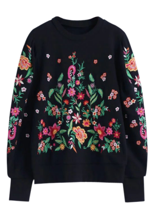 Oversized Floral Embroidered Sweatshirt - Black