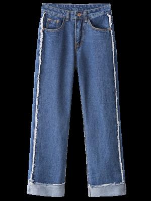 Jeans à Jambes Droites Avec Coupures Et Arrêts - Bleu Clair