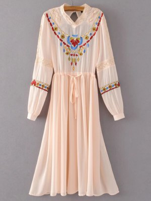 Belted Embroidered Long Sleeve Dress - Pink