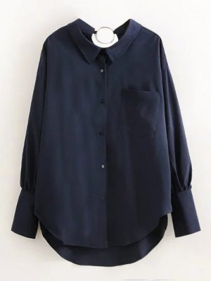 Boyfriend Metal Circle Pocket Shirt - Purplish Blue
