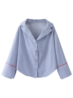 Lapel Collar Striped Shirt - Blue