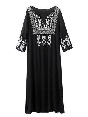 Side Slit Embroidered Maxi Dress - Black