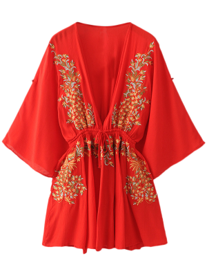 Bohemian Plunging Neck Embroidered Dress - Red