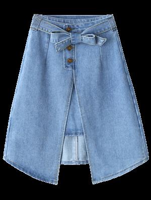 Bownot Front Slit Denim Skirt - Light Blue