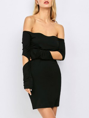 Bodycon Off The Shoulder Long Sleeve Party Dress - Black