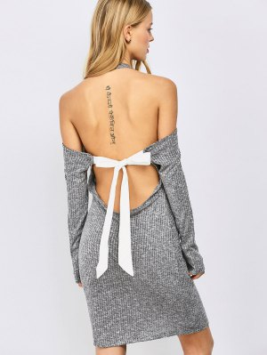 Knitting Bowknot Bodycon Dress - Gray