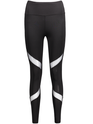 Mesh Panel Skinny Sports Leggings - Black