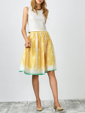 Fruit Pattern Ball Gown Skirt - Yellow