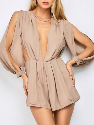 Split Sleeve Plunging Neck Cut Out Romper - Pinkbeige
