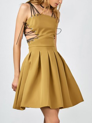 Side Lace Up Skater Party Dress - Ginger