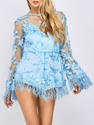 Fringed Floral Applique Sheer Romper - Light Blue