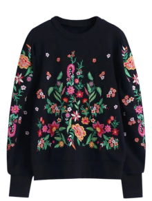 Oversized Floral Embroidered Sweatshirt