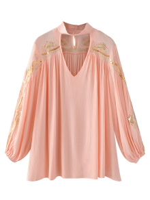 Embroidered Choker Blouse
