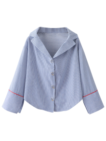 Lapel Collar Striped Shirt