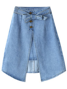 Bownot Front Slit Denim Skirt - Light Blue M
