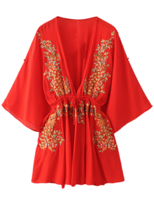 Bohemian Plunging Neck Embroidered Dress - Red L