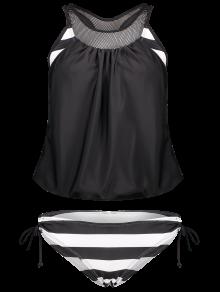 Striped Mesh Panel Tankini Set - Black