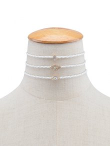 Rhinestone Eye Geometric Braid Choker Necklaces