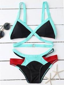 Strappy Color Block Banded Bikini Set
