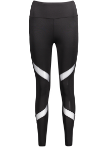 Mesh Panel Skinny Sports Leggings - Black